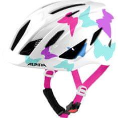 Alpina Sports Pico otroška kolesarska čelada, bela, z metuljčki, 50 - 55