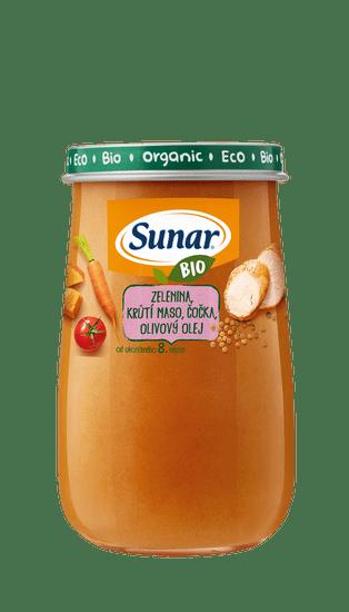 Sunar BIO príkrm zelenina, morčacie mäso, šošovica, olivový olej 6x 190g