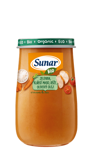 Sunar BIO príkrm zelenina, kuracie mäso, ryža, olivový olej 6x 190g
