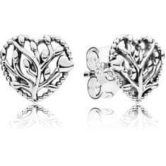Pandora Strieborné náušnice Kvitnúce srdce 297085