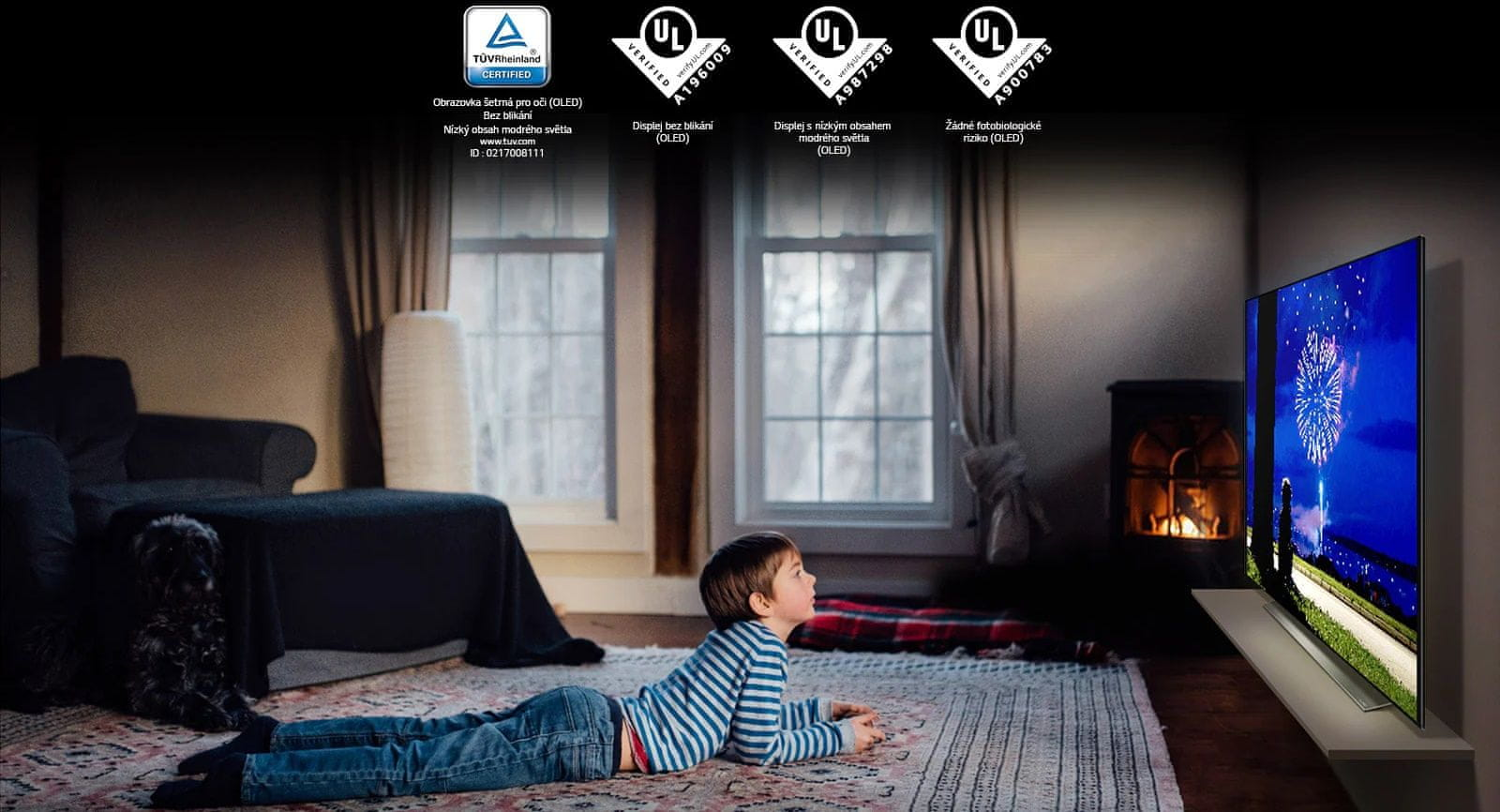LG TV televize OLED evo 4K 2021 šetrný pro zrak modré světlo životní prostředí bezpečný