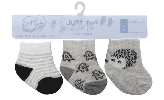 Just Too Cute Jež i pruge čarape s dječjim uzorkom, 3 komada