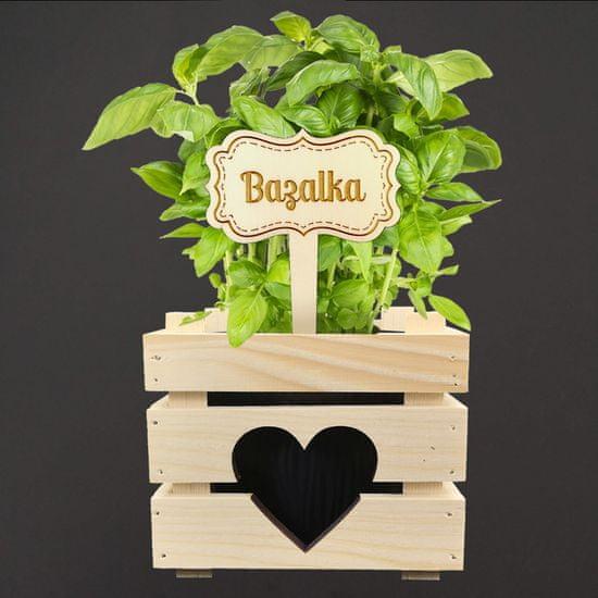 AMADEA Dřevěný zápich - cedulka na bylinky Bazalka, výška 20 cm, český výrobek