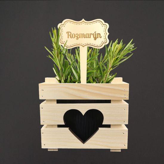 AMADEA Dřevěný zápich - cedulka na bylinky Rozmarýn, výška 20 cm, český výrobek
