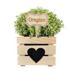 AMADEA Dřevěný zápich - cedulka na bylinky Oregáno, výška 20 cm, český výrobek