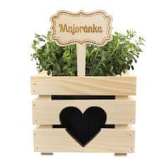 AMADEA Dřevěný zápich - cedulka na bylinky Majoránka, výška 20 cm, český výrobek