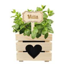 AMADEA Dřevěný zápich - cedulka na bylinky Máta, výška 20 cm, český výrobek