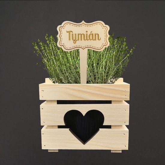 AMADEA Dřevěný zápich - cedulka na bylinky Tymián, výška 20 cm, český výrobek