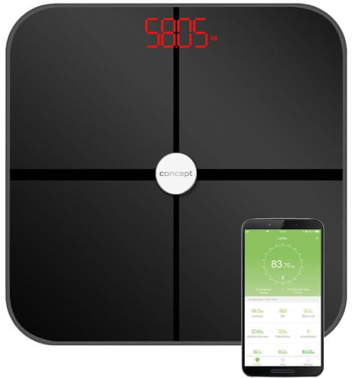 CONCEPT waga diagnostyczna VO4011 180 kg PERFECT HEALTH, czarna
