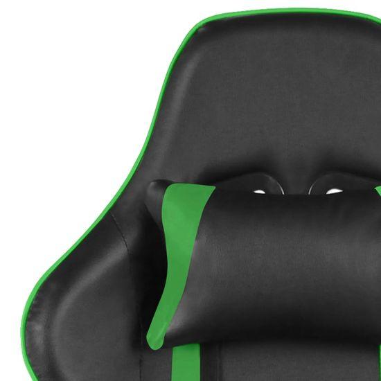 shumee zöld PVC forgó gamer szék lábtartóval