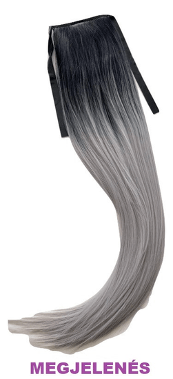 Vipbejba Szintetikus copf szalagon klipszel, egyenes, ombre fekete és szürke S1