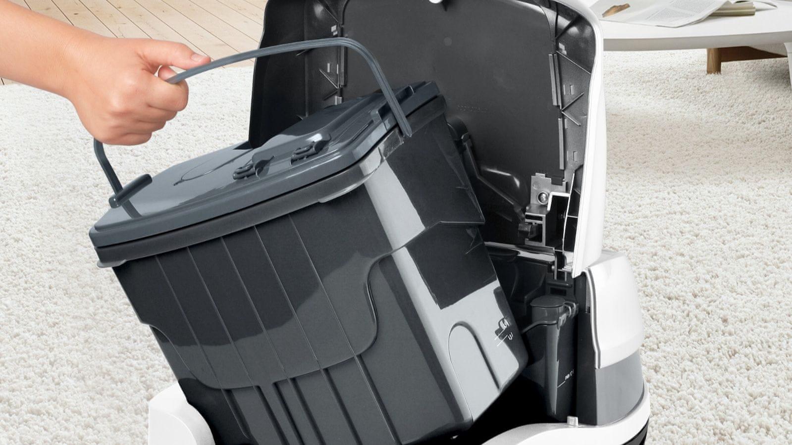 Omogoča daljši čas čiščenja brez potrebe po praznjenju rezervoarja.
