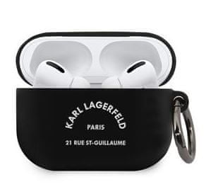 Karl Lagerfeld Rue St Guillaume Tok Airpods Pro számára Black KLACAPSILRSGBK