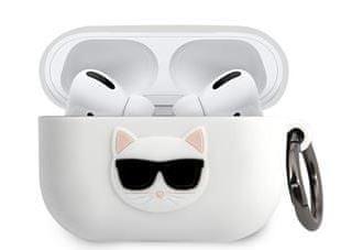 Karl Lagerfeld Choupette Head Pouzdro pro Airpods Pro White KLACAPSILCHWH