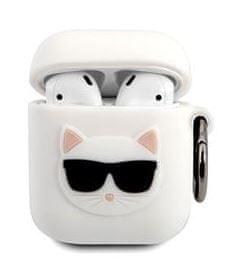Karl Lagerfeld Choupette Head Pouzdro pro Airpods 1/2 White KLACA2SILCHWH
