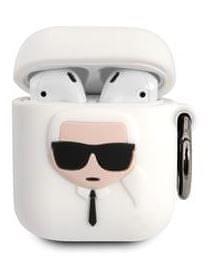Karl Lagerfeld Karl Head Pouzdro pro Airpods 1/2 White KLACCSILKHWH