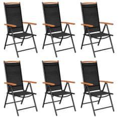 Vidaxl Skládací zahradní židle 6 ks textilen černé