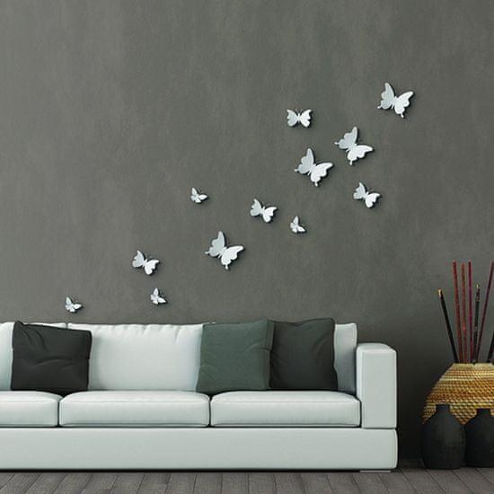 Crearreda stenska dekoracija, beli metulji, 12/1