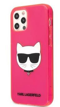 Karl Lagerfeld TPU Choupette Head Kryt pro iPhone 12 Pro Max 6.7 Fluo Pink KLHCP12LCHTRP