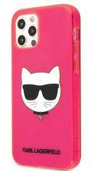 Karl Lagerfeld TPU Choupette Head Kryt pro iPhone 12/12 Pro 6.1 Fluo Pink KLHCP12MCHTRP - zánovní