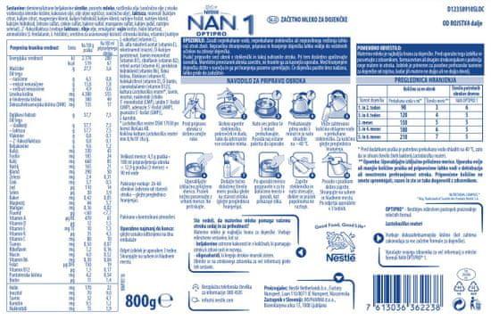 NAN Optipro 1 začetno mleko za dojenčke, 800 g