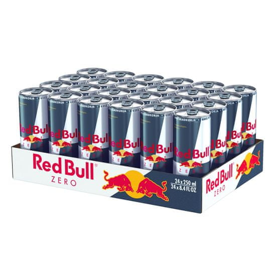 RedBull Zero energijska pijača s tavrinom in kofeinom, brez sladil, karton, 24 x 250 ml