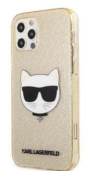 Karl Lagerfeld Choupette Head Glitter Kryt pro iPhone 12 Pro Max 6.7 Gold KLHCP12LCHTUGLGO