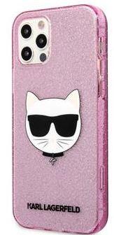 Karl Lagerfeld Choupette Head Glitter Kryt pro iPhone 12 Pro Max 6.7 Pink KLHCP12LCHTUGLP