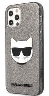 Karl Lagerfeld Choupette Head Glitter Kryt pro iPhone 12 Pro Max 6.7 Black KLHCP12LCHTUGLB