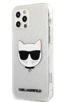 Karl Lagerfeld Choupette Head Glitter Kryt pro iPhone 12 Pro Max 6.7 Silver KLHCP12LCHTUGLS