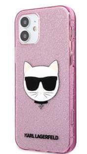 Karl Lagerfeld Choupette Head Glitter Kryt pro iPhone 12 mini 5.4 Pink KLHCP12SCHTUGLP