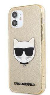 Karl Lagerfeld Choupette Head Glitter Kryt pro iPhone 12 mini 5.4 Gold KLHCP12SCHTUGLGO