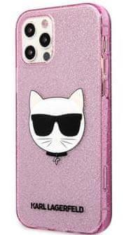 Karl Lagerfeld Choupette Head Glitter Kryt pro iPhone 12/12 Pro 6.1 Pink KLHCP12MCHTUGLP