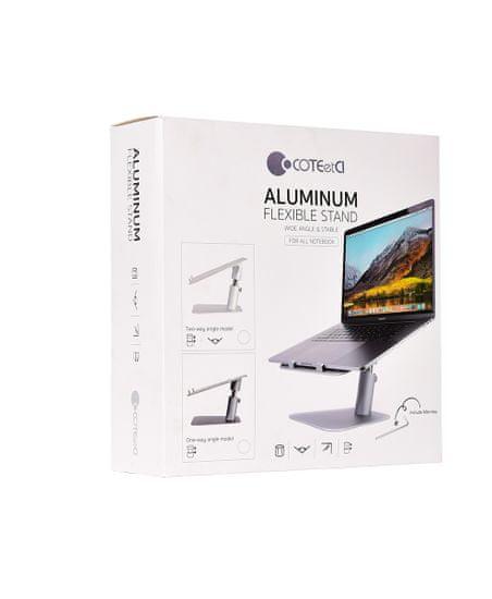 Coteetci hliníkový flexibilný podstavec pre notebooky (obojsmerný) CS5150-TS, strieborný