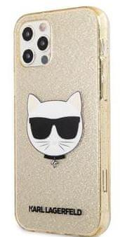 Karl Lagerfeld Choupette Head Glitter Kryt pro iPhone 12/12 Pro 6.1 Gold KLHCP12MCHTUGLGO