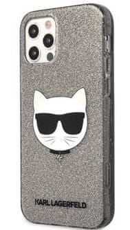 Karl Lagerfeld Choupette Head Glitter Kryt pro iPhone 12/12 Pro 6.1 Black KLHCP12MCHTUGLB