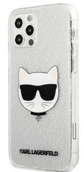 Karl Lagerfeld Choupette Head Glitter Kryt pro iPhone 12/12 Pro 6.1 Silver KLHCP12MCHTUGLS