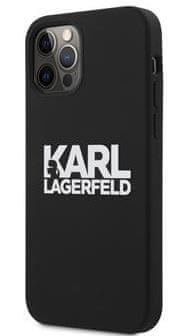 Karl Lagerfeld Stack White Logo Silikónový Kryt pre iPhone 12 Pro Max 6.7 Black KLHCP12LSLKLRBK