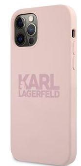 Karl Lagerfeld Stack Pink Logo Silikonový Kryt pro iPhone 12 Pro Max 6.7 Pink KLHCP12LSTKLTLP