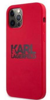 Karl Lagerfeld Stack Black Logo Silikonový Kryt pro iPhone 12/12 Pro 6.1 Red KLHCP12MSLKLRE