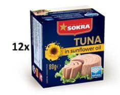 SOKRA Tuniak v slnečnicovom oleji 80 g, 12 ks