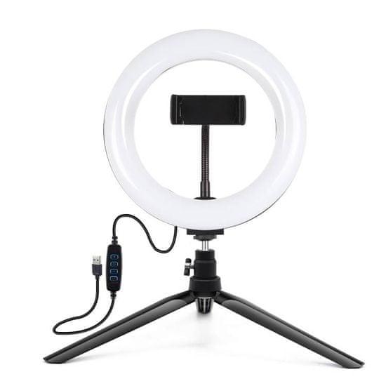 Puluz Tripod asztali LED körfény 7.9'', fekete