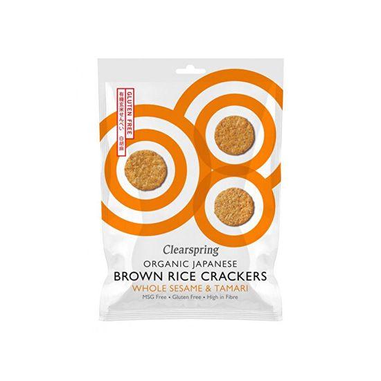 Clearspring Japonské krekry z hnědé rýže s bílým sezamem a tamari BIO 40 g