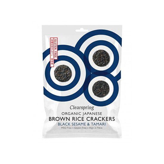 Clearspring Japonské krekry z hnědé rýže s černým sezamem a tamari BIO 40 g