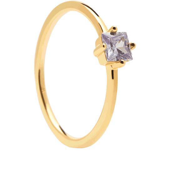 PDPAOLA Uroczy pozłacany pierścionek z cyrkoniąLAVENDER LIS AN01-196 srebro 925/1000