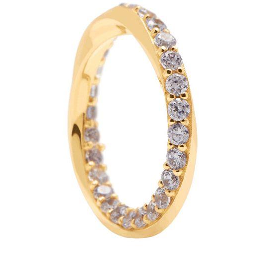 PDPAOLA Elegáns aranyozott gyűrű cirkónium kövekkel CAVALIER AN01-197 ezüst 925/1000