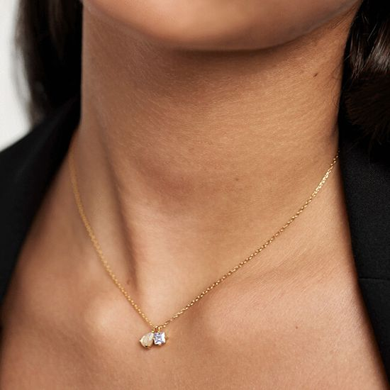PDPAOLA Nežný pozlátený náhrdelník zo striebra Velours CO01-182 (retiazka, prívesky) striebro 925/1000