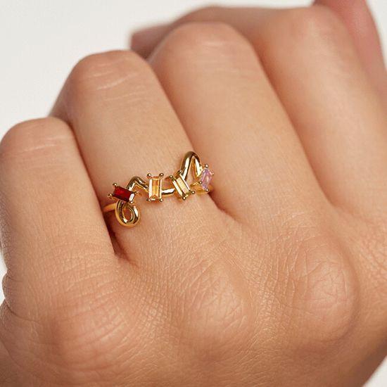 PDPAOLA Figlarny pozłacany pierścionek z cyrkoniami ZAZAGold AN01-142 srebro 925/1000