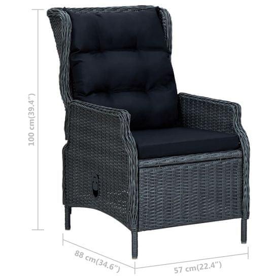 shumee sötétszürke dönthető háttámlás polyrattan kerti szék párnákkal