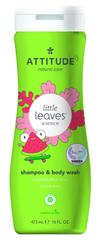 Attitude Detské telové mydlo a šampón (2 v 1) Little leaves s vôňou melónu a kokosu 473 ml